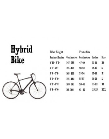 Bike Size Chart For Women Hybrid Bike Women